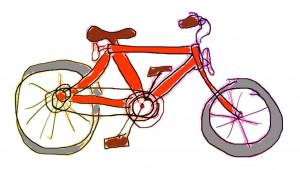 Fahrrad, von einem Kind gemalt