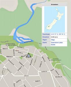 Karte von Arrowtown, Otago, Neuseeland