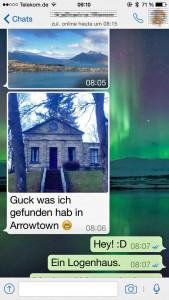 Whatsapp-Beitrag mit Foto vom Logenhaus in Arrowtown