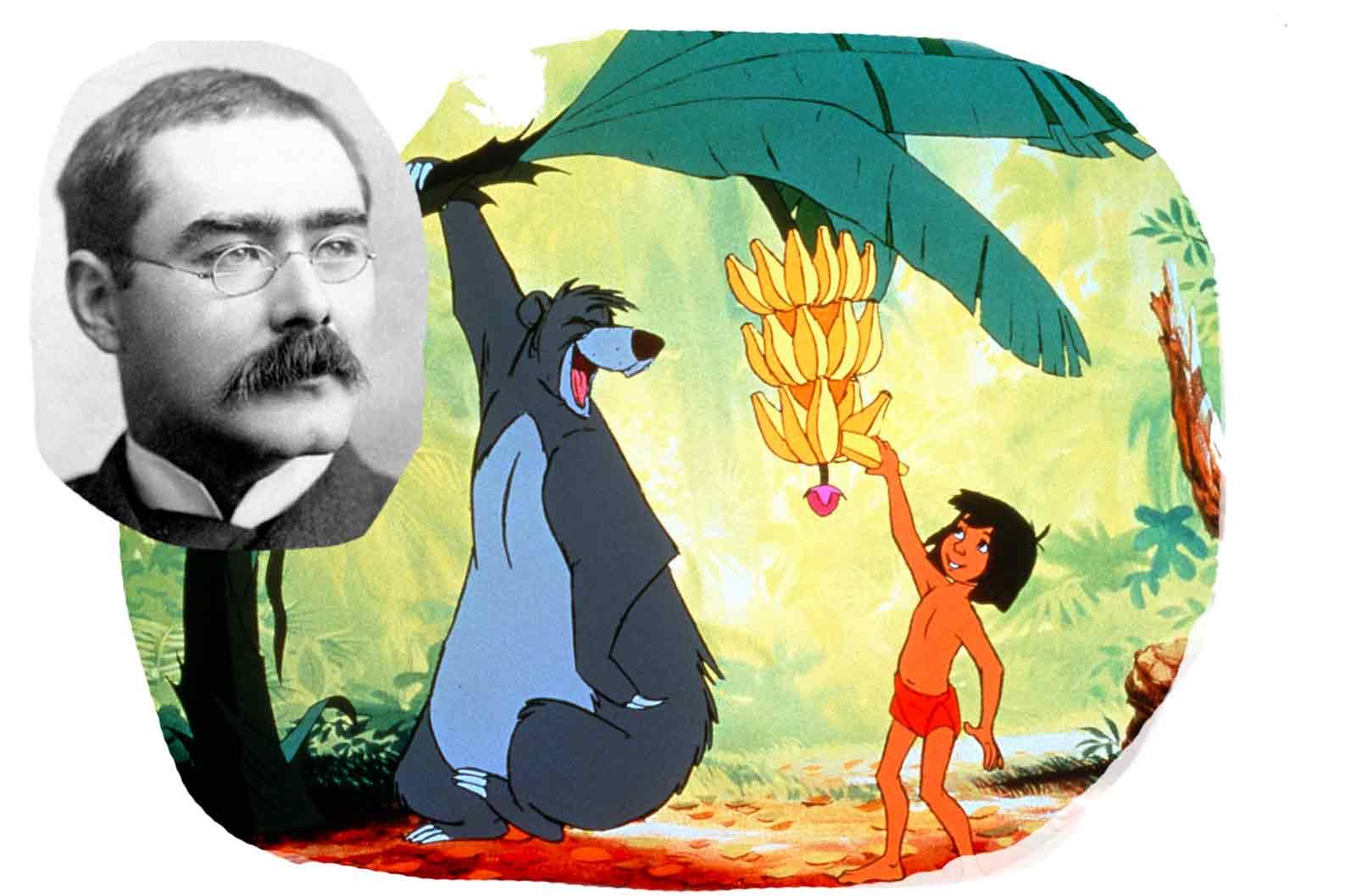 Portrait von R. Kipling und seinen Romanhelden Balu und Mowgli