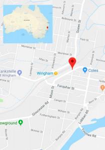 Lage-Karte für Wingham, Australien